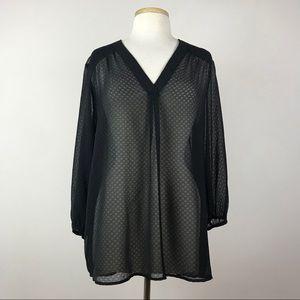 Pleione sheer black Tunic blouse
